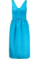 Marc By Marc Jacobs Lace Trimmed Gathered Satin Twill Midi Dress Turquoise