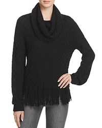 Ella Moss Cowl Neck Fringe Hem Sweater Black
