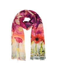 Mila Schon Sunflowers Print Modal Fringed Stole Pink Red