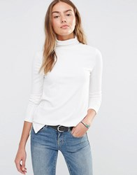 Brave Soul Jersey Polo Neck Top Cream