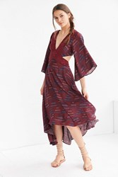 Ecote Printed 3 4 Sleeve Cutout Maxi Dress Red Multi