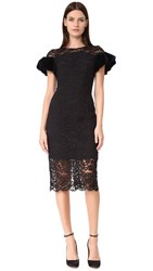 Monique Lhuillier Puff Sleeve Dress Noir