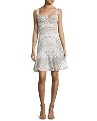 J. Mendel Sleeveless Drop Waist Lace Dress White
