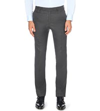 Gieves And Hawkes Slim Fit Tapered Wool Flannel Trousers Charcoal