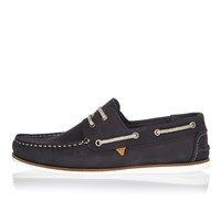 River Island Mens Navy Blue Nubuck Boat Shoes