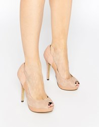 Little Mistress Peep Toe Platform Heeled Shoes Nude