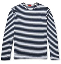 Isaia Striped Cotton Jersey T Shirt Blue