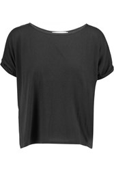 Kain Label Winnie Wrap Effect Textured Cotton And Cotton Jersey Top Black
