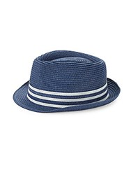 Saks Fifth Avenue Striped Patterned Fedora Hat Navy