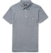 Todd Snyder Striped Cotton Jersey Polo Shirt Blue