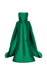 Elizabeth Kennedy Strapless Gown With Overskirt Green