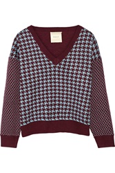Mason By Michelle Mason Houndstooth Intarsia Knit Sweater