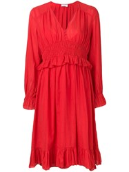 Closed Pleated Dress Red