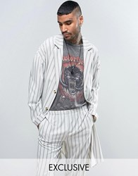 Reclaimed Vintage Inspired Striped Duster Jacket White