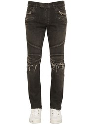 Balmain 16.5Cm Biker Faded Stretch Denim Jeans