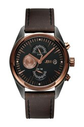 Jbw Men's The Woodall Leather Diamond Watch 0.04 Ctw Brown