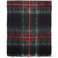 Comme Des Garcons Tricot Black And Red Mohair Tartan Scarf