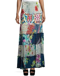 Johnny Was Cherrie Printed Tiered Maxi Skirt Multi