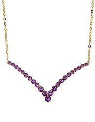 Lord And Taylor Amethyst 14K Yellow Gold Chevron Necklace