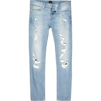 River Island Mens Light Blue Wash Extreme Rips Skinny Sid Jeans