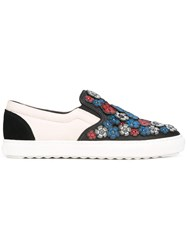 Coach Flower Embellished Slippers White