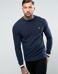 Fred Perry Textured Crew Jumper Tipped In Navy Navy