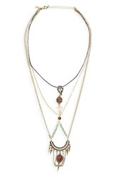 Women's Topshop Semiprecious Stone And Crystal Ladder Necklace