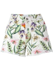 Ermanno Scervino Floral Print Denim Blue Shorts