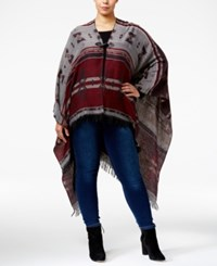 Love Squared Trendy Plus Size Toggle Poncho Cardigan Burgundy