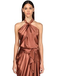 Johanna Ortiz Stretch Silk Blend Halter Neck Top Brown