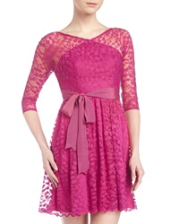 Alexia Admor Three Quarter Sleeve Lace Dress Hot Pink