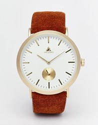 Asos Watch In Gold With Leather Strap And Functioning Sub Dial Gold
