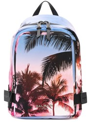 Balmain Palm Tree Print Backpack Blue