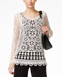 Alfani Crochet Lace Popover Top Only At Macy's Pastel Parchment