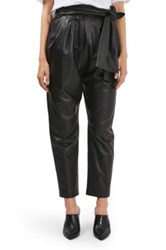 Topshop Leather Carrot Trousers Black