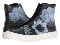 Alexander Mcqueen Floral Painted High Top Sneaker Black Black Men's Lace Up Casual Shoes