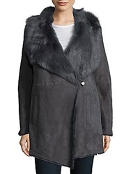 Elie Tahari Dyed Fur Long Sleeve Jacket Granite