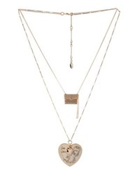 Bcbgeneration Queen Of Hearts Crystal Double Chain Necklace Rose Gold