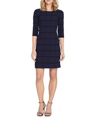 Tahari By Arthur S. Levine Petite Windowpane Faux Leather Trimmed Sheath Dress Navy Black
