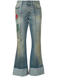 Gucci Embroidered Flared Jeans With Turned Cuffs Cotton Calf Leather Blue