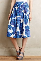 Anthropologie Blueberry Hill Midi Skirt Blue Motif