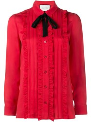 Gucci Ruffle Front Shirt Red