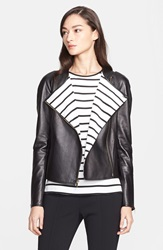 St. John Nappa Leather Jacket With Stripe Lining Caviar Cream