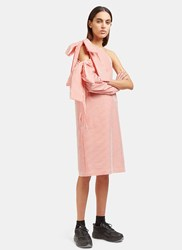 Msgm Seersucker Striped Shoulder Tie Dress Pink