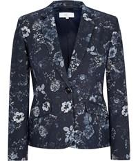 Cc Blue Floral Printed Jacket Navy