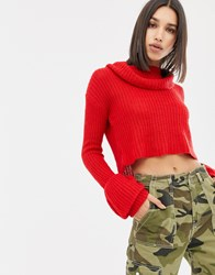 Missguided Open Stitch Roll Neck Knitted Jumper Red