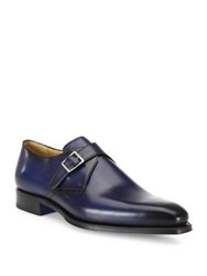 Sutor Mantellassi Single Monk Strap Leather Derby Shoes Blue