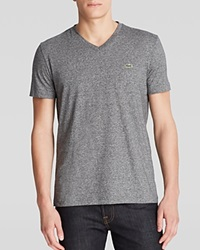 Lacoste Solid V Neck Tee Silver Gray Chine