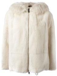 Brunello Cucinelli Mink And Fox Fur Reversible Jacket Nude And Neutrals
