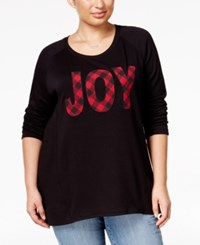 Styleandco. Style Co. Plus Size Joy Graphic Top Only At Macy's Deep Black